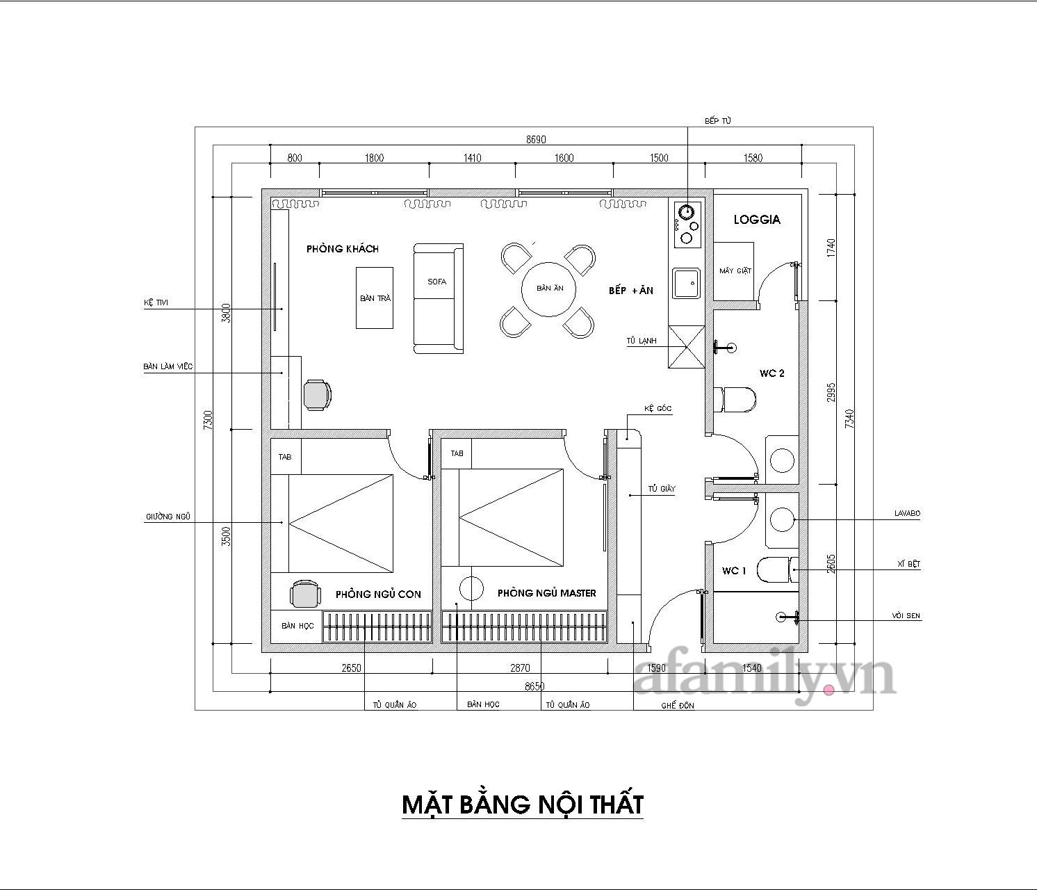 Kiến trúc sư tư vấn thiết kế căn hộ 64m² với chi phí 145 triệu đồng - Ảnh 2.