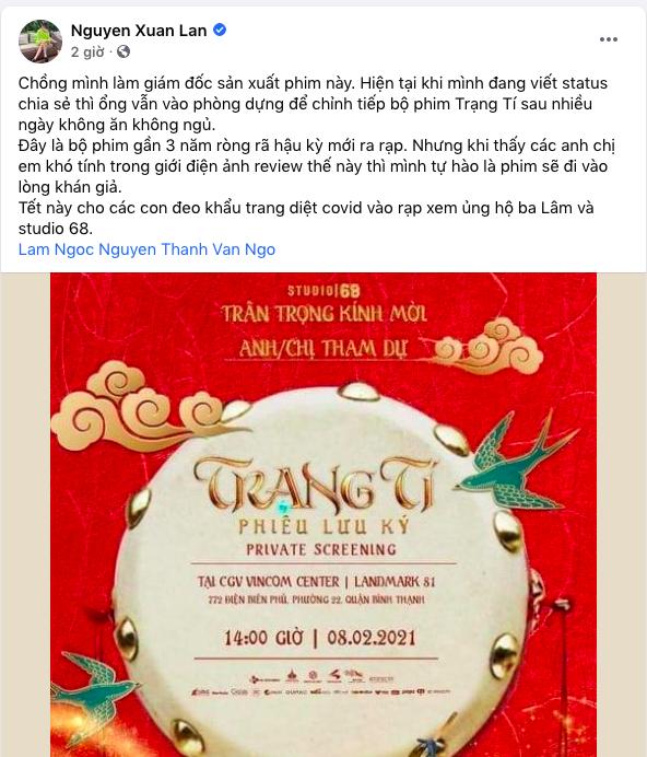 Xuân Lan đăng đàn ủng hộ Trạng Tí của Ngô Thanh Vân bất chấp bão tẩy chay, còn nhắc đến cả chồng  - Ảnh 1.