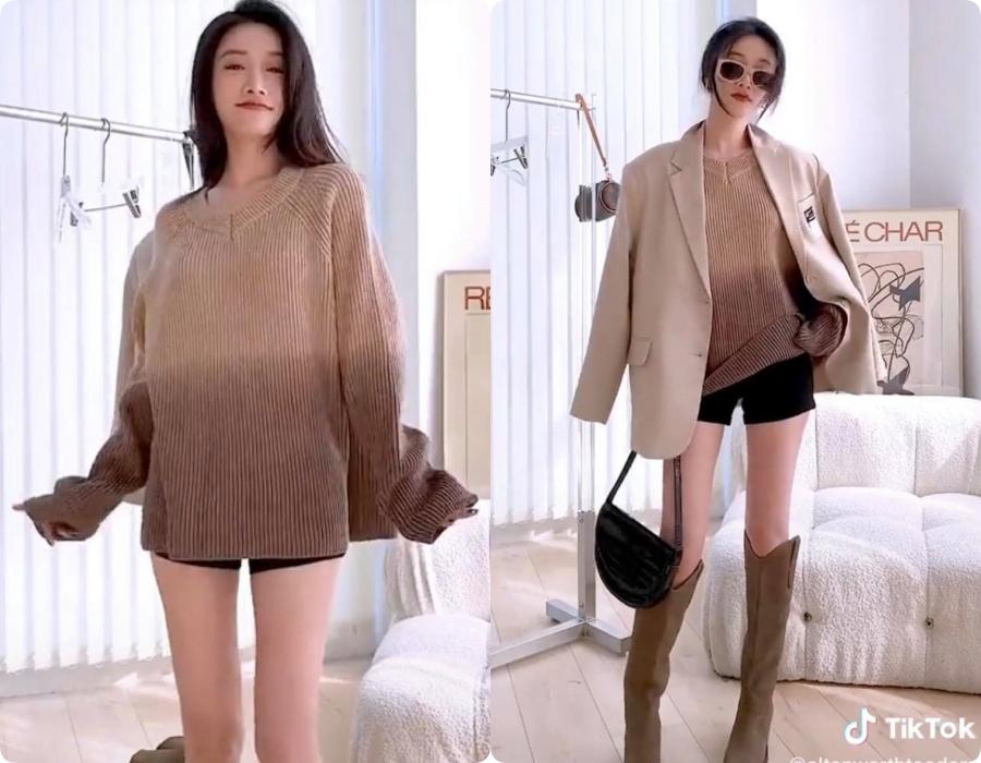 10 set đồ vối blazer mà nàng nào cũng có thể học lỏm theo từ hot girl Tiktok xứ Trung - Ảnh 5.