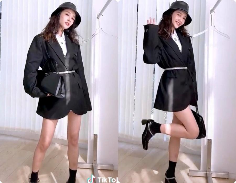 10 set đồ vối blazer mà nàng nào cũng có thể học lỏm theo từ hot girl Tiktok xứ Trung - Ảnh 6.
