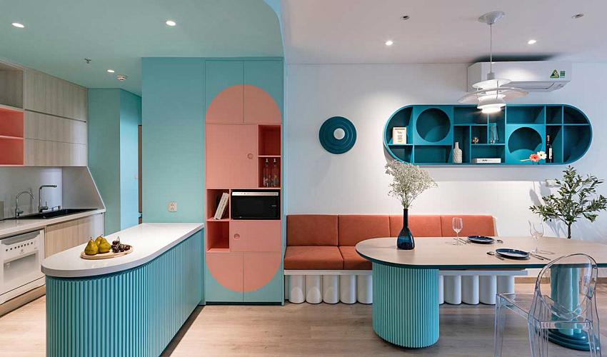 Căn hộ chỉ 89m² đẹp cá tính và năng động với hình khối và color block - Ảnh 1.