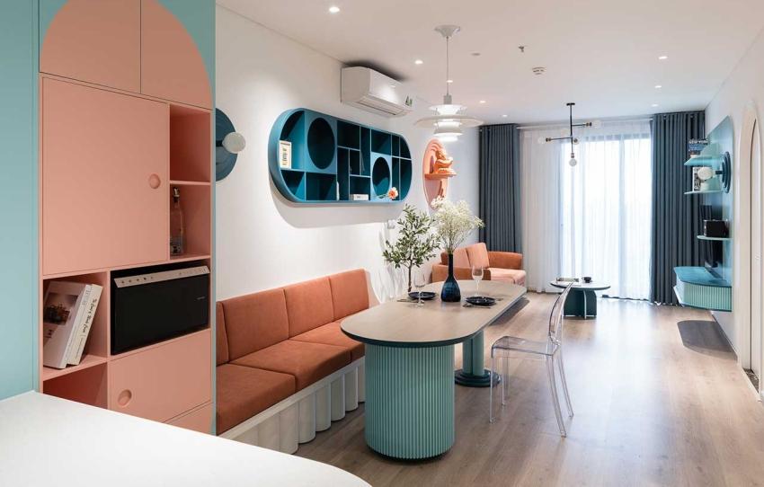 Căn hộ chỉ 89m² đẹp cá tính và năng động với hình khối và color block - Ảnh 2.