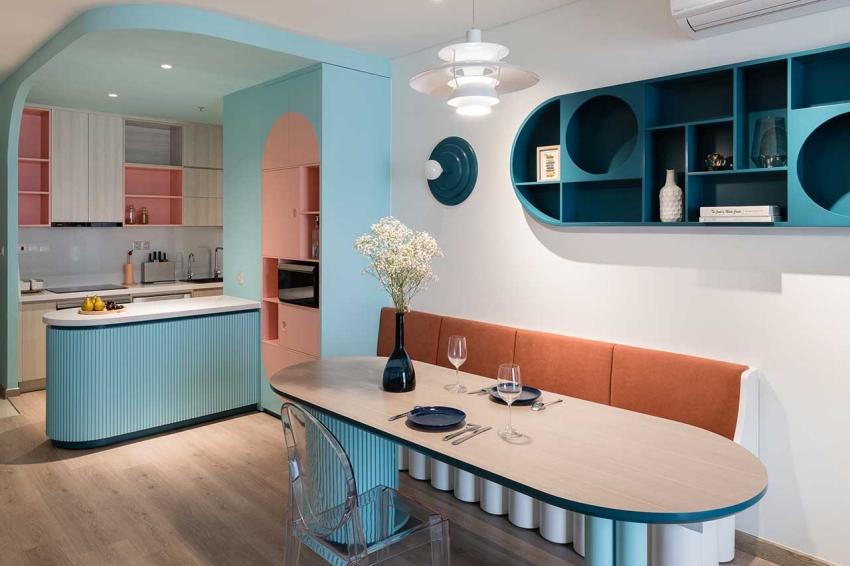Căn hộ chỉ 89m² đẹp cá tính và năng động với hình khối và color block - Ảnh 5.