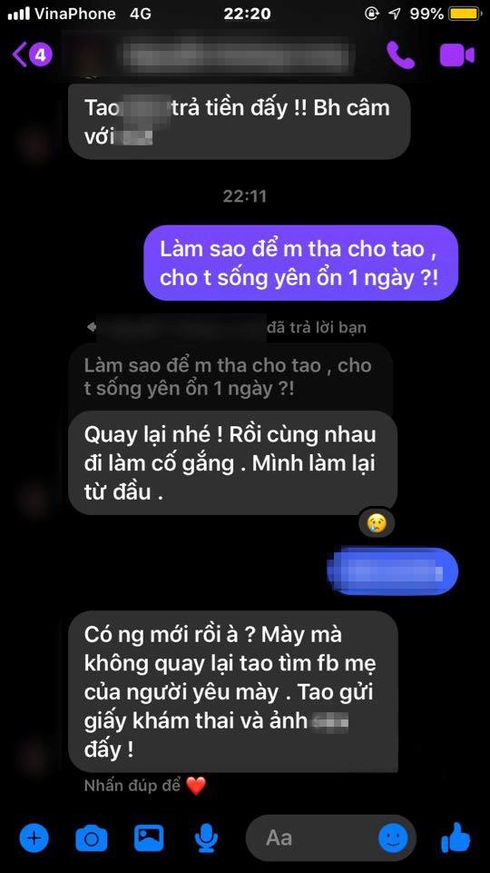 Người bạn trai phố cổ nhắn tin đe dọa cô gái nếu không quay lại sẽ gửi ảnh nóng của cả 2 trước đây cho bố mẹ người yêu mới.