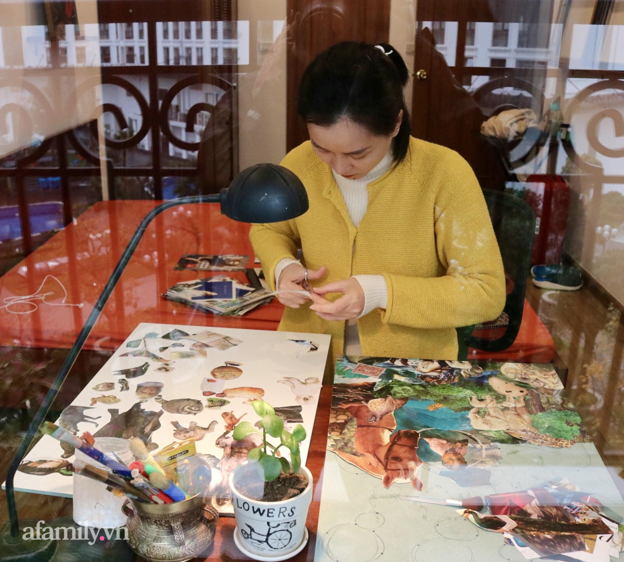 Người phụ nữ Hà Nội làm tranh xé dán độc lạ như họa sĩ chuyên nghiệp, tưởng chỉ là thú vui chơi chơi nhưng lại làm được việc rất ý nghĩa - Ảnh 7.
