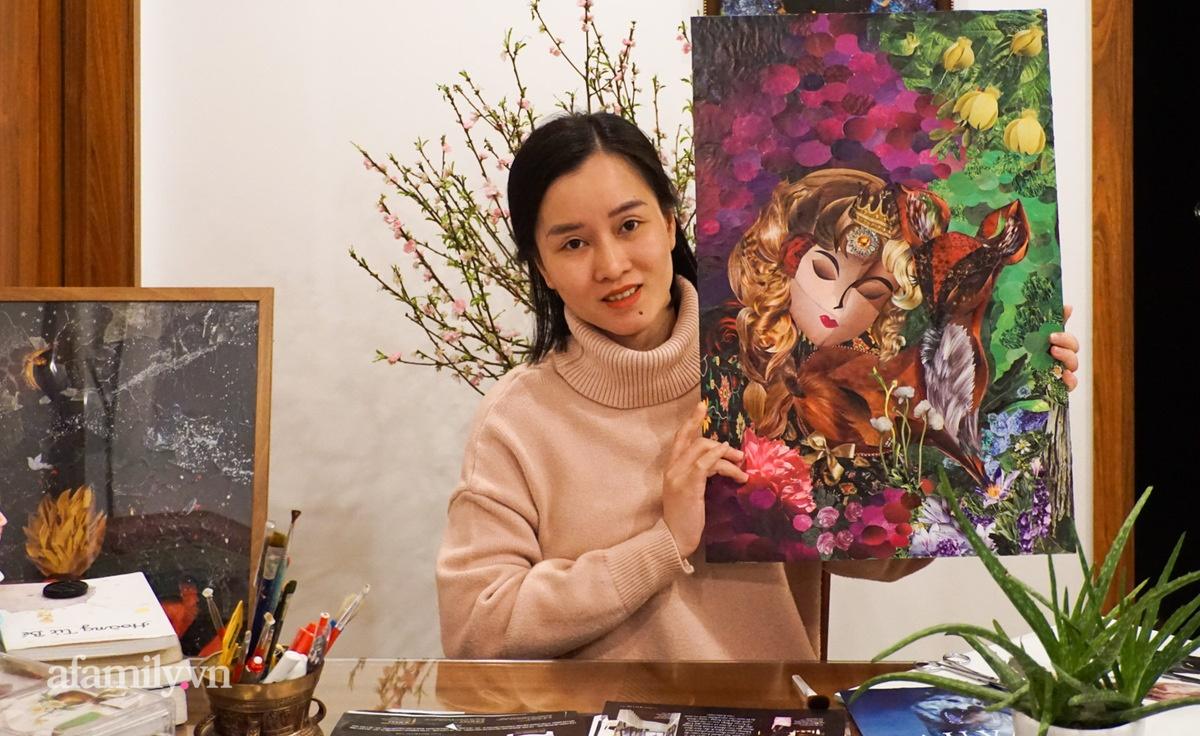 Người phụ nữ Hà Nội làm tranh xé dán độc lạ như họa sĩ chuyên nghiệp, tưởng chỉ là thú vui chơi chơi nhưng lại làm được việc rất ý nghĩa - Ảnh 1.