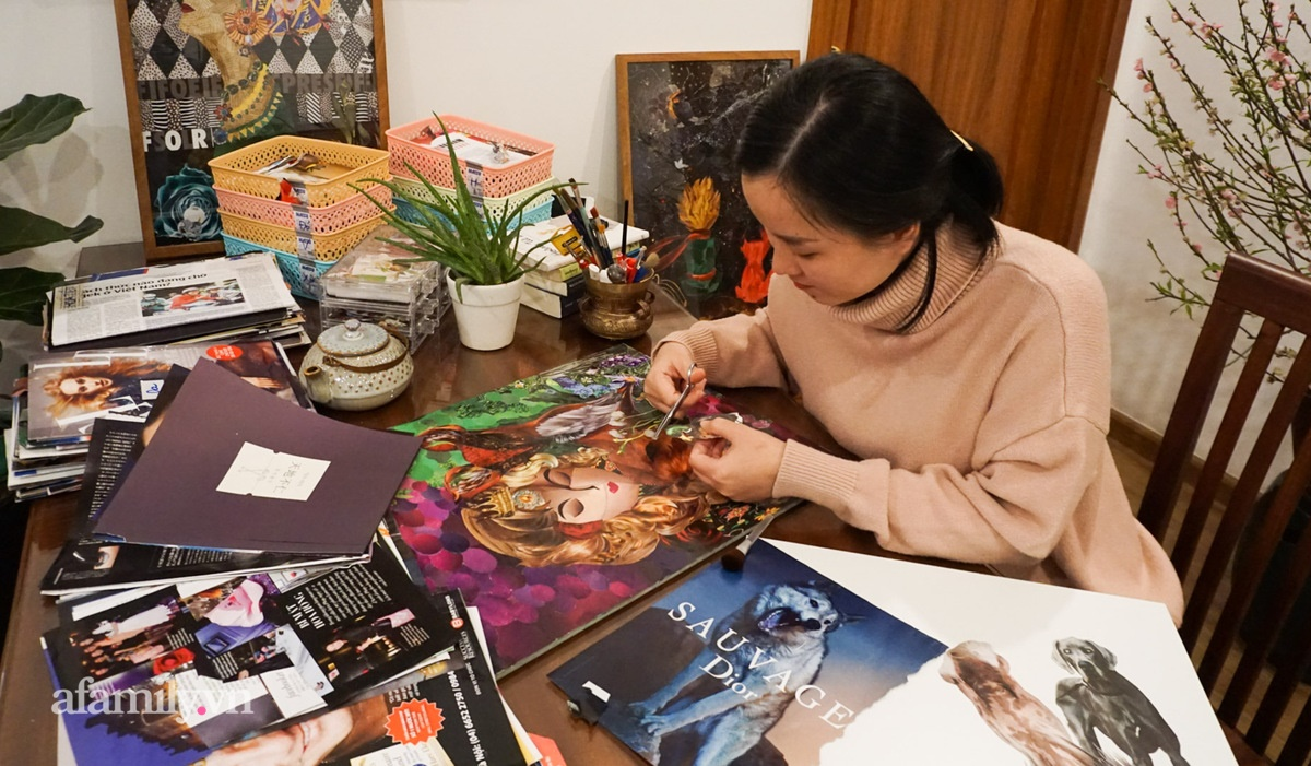 Người phụ nữ Hà Nội làm tranh xé dán độc lạ như họa sĩ chuyên nghiệp, tưởng chỉ là thú vui chơi chơi nhưng lại làm được việc rất ý nghĩa - Ảnh 3.