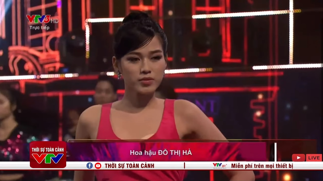 """Hoa hậu Đỗ Thị Hà hớ hênh lộ """"phụ tùng"""" trên sóng truyền hình vì bộ đầm gợi cảm - Ảnh 6."""