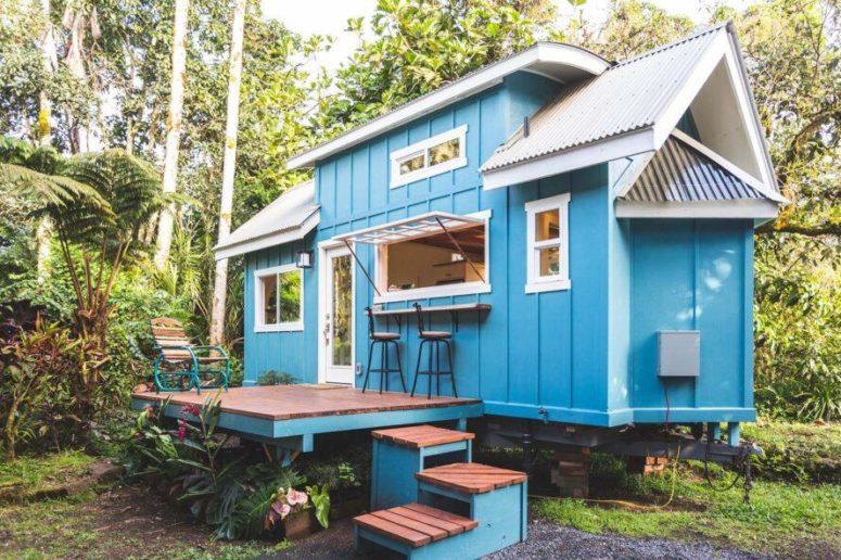 Căn nhà màu xanh siêu nhỏ ẩn chứa cả thế giới bên trong - Ảnh 2.