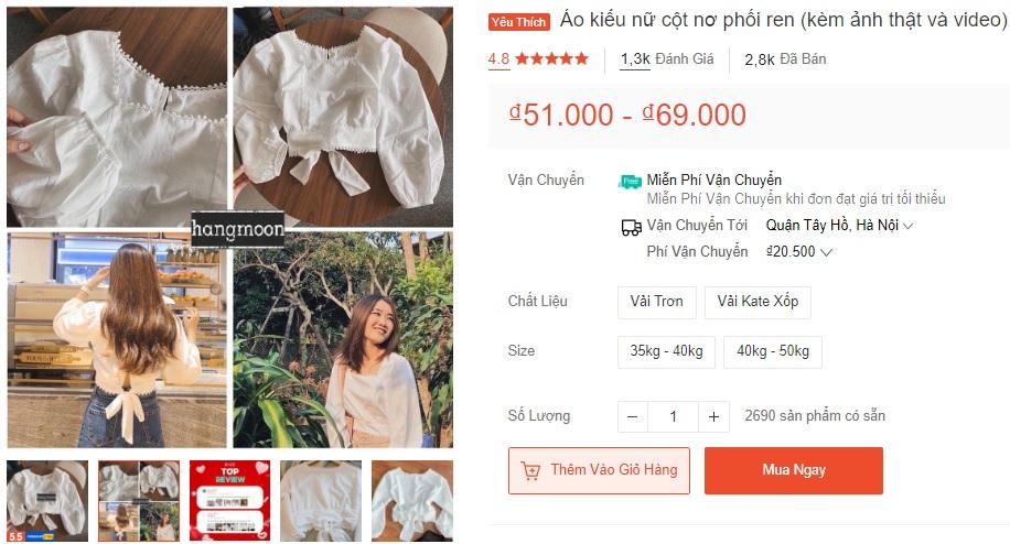 9 mẫu áo kiểu nữ bán chạy nhất Shopee, từ 35k mà diện lên xinh chuẩn hot girl - Ảnh 6.