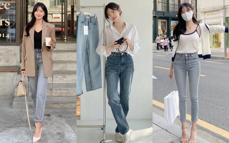 """Học nàng blogger Hàn cách diện jeans """"đỉnh của chóp"""": Vừa hack dáng vừa thanh lịch để đến sở làm"""