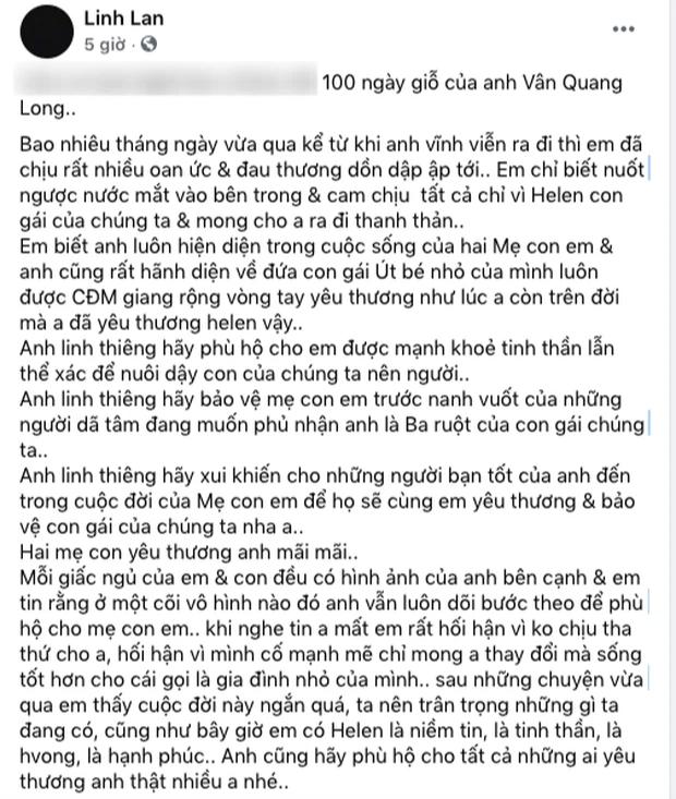 Linh Lan chính thức lên tiếng trước nghi vấn bé Helen không phải con ruột của cố NS Vân Quang Long - Ảnh 1.