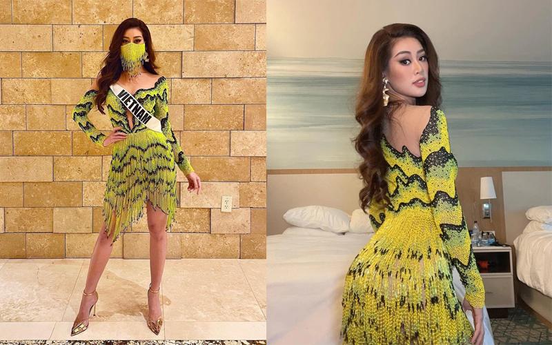 Khánh Vân diện váy ruộng bậc thang gây sốt tại Hoa hậu Hoàn vũ 2020