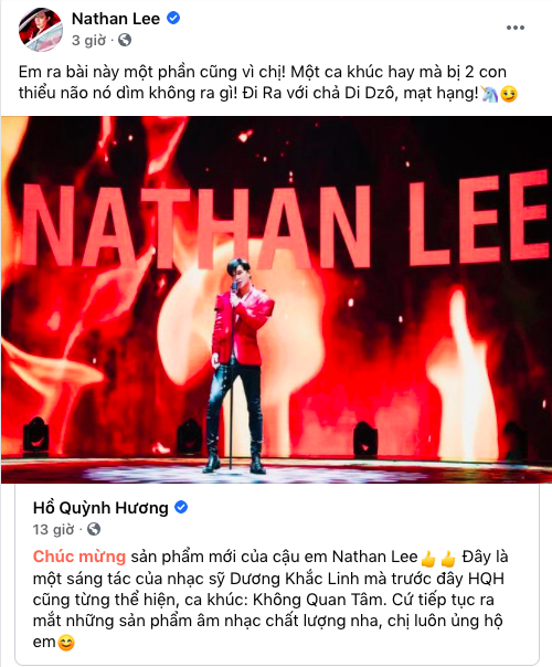 """Hồ Quỳnh Hương ủng hộ Nathan Lee ca hát, nam ca sĩ đáp lại còn tranh thủ đá xéo """"ai đó thiểu não""""  - Ảnh 1."""