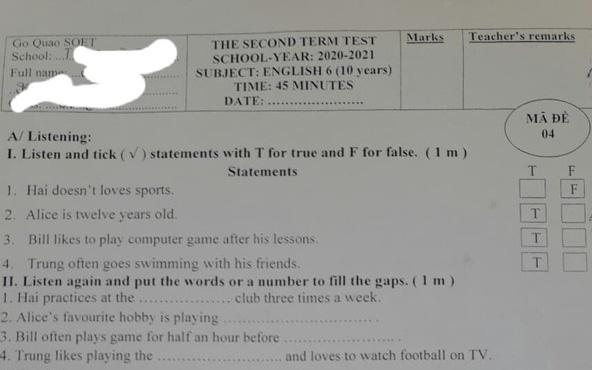 Học sinh lớp 6 nhận đề thi tiếng Anh học kỳ 2 có luôn… đáp án, đại diện Phòng GD-ĐT nói gì?