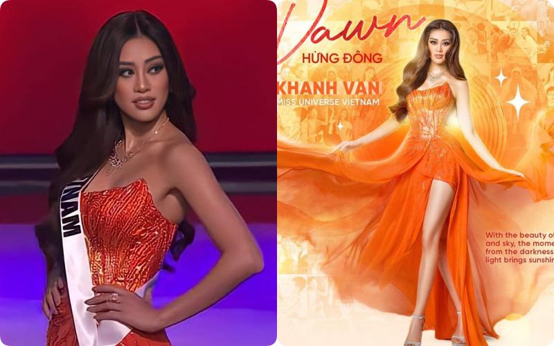 """Khánh Vân khiến khán giả bất ngờ với trang phục dạ hội, chọn bộ váy """"Hừng Đông"""" vì lý do liên quan đến bố"""