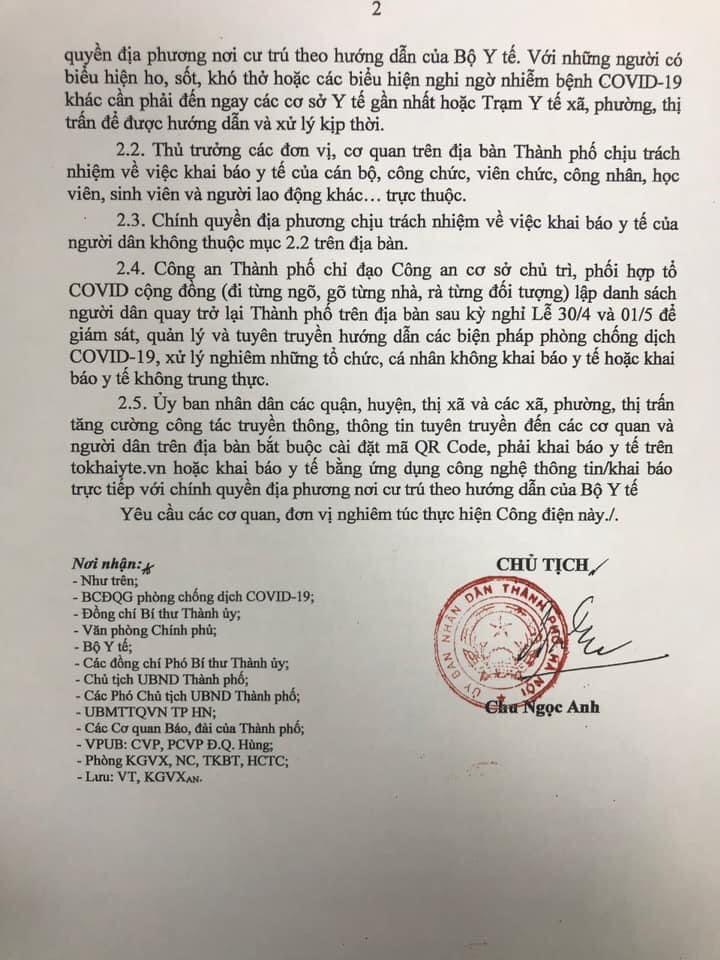 Hà Nội yêu cầu người dân khai báo y tế khi quay trở lại thành phố sau kỳ nghỉ lễ - Ảnh 2.
