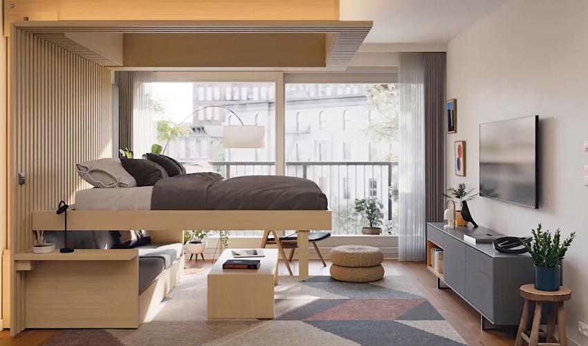 Phòng khách biến thành phòng ngủ trong 30s với khung giường nâng thông minh - Ảnh 3.