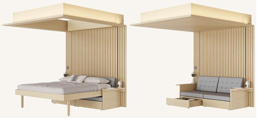 Phòng khách biến thành phòng ngủ trong 30s với khung giường nâng thông minh - Ảnh 1.