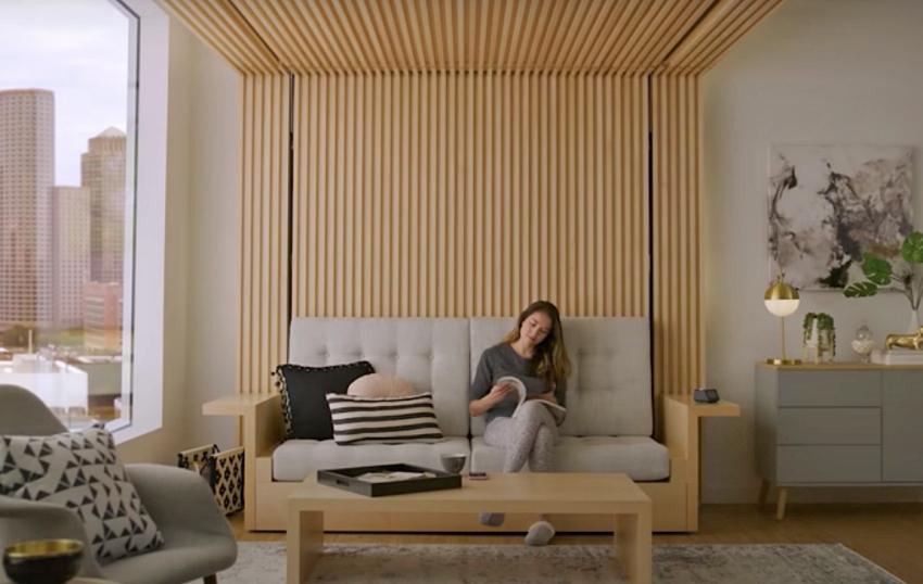 Phòng khách biến thành phòng ngủ trong 30s với khung giường nâng thông minh - Ảnh 4.