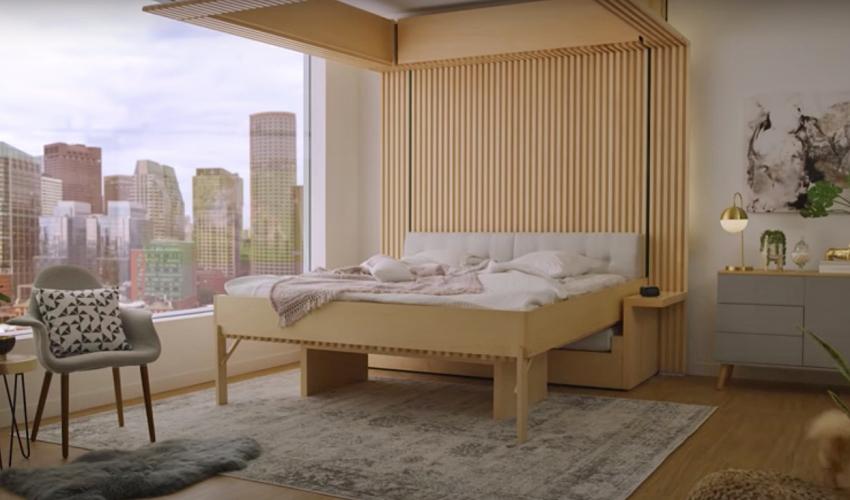 Phòng khách biến thành phòng ngủ trong 30s với khung giường nâng thông minh - Ảnh 5.