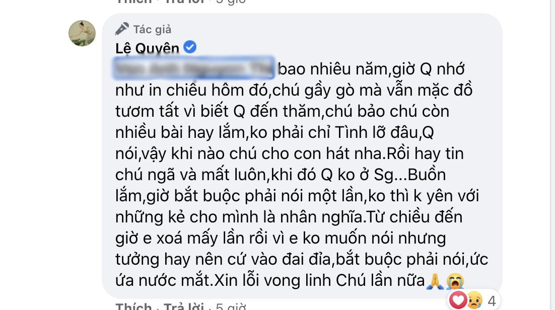 Bị nói vô ơn với cố nhạc sĩ Thanh Bình, Lệ Quyên đanh thép đáp trả khiến netizen cứng họng phải làm ngay điều này? - Ảnh 3.