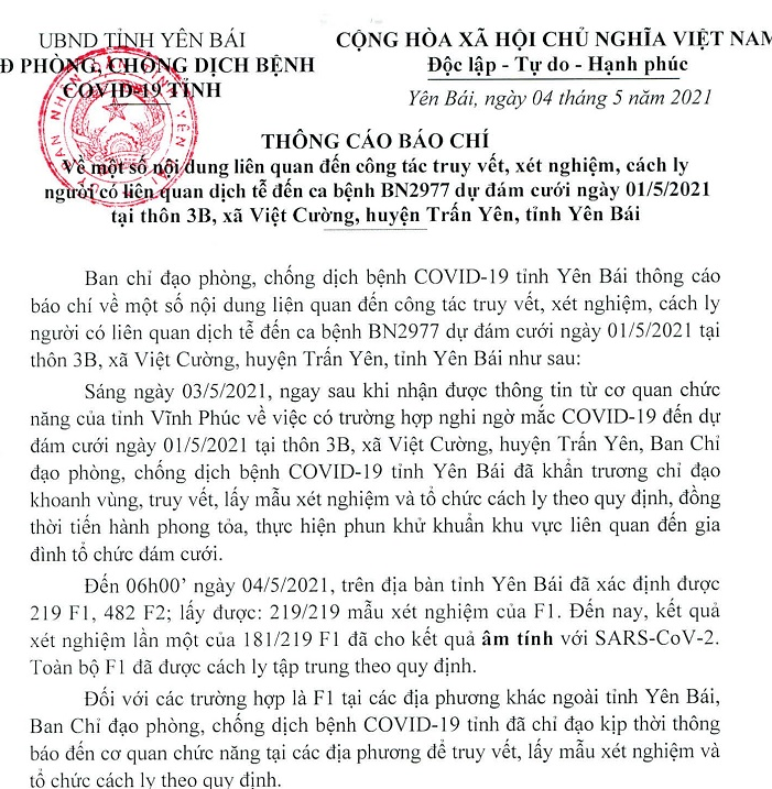 Đã có kết quả xét nghiệm SARS-CoV-2 với người  liên quan đến ca bệnh BN2977 ở Yên Bái - Ảnh 1.