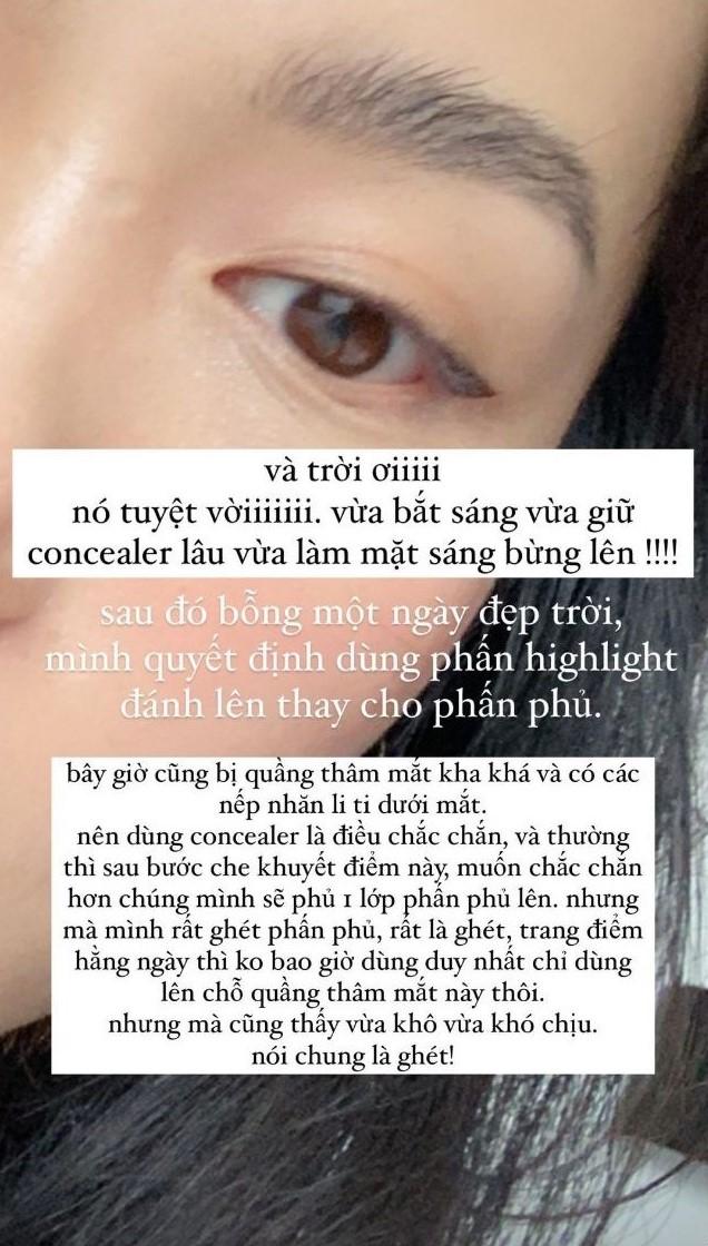 Không dùng phấn phủ, Hà Trúc vẫn có cách khoá được lớp che khuyết điểm dưới mắt siêu đẹp và mỏng nhẹ muốn xỉu - Ảnh 2.