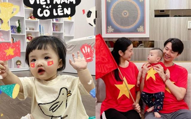 Sao Việt nô nức cổ vũ đội tuyển Việt Nam: Nhà ai cũng khoe cờ đỏ sao vàng rực rỡ, con gái Đông Nhi cực phấn khích