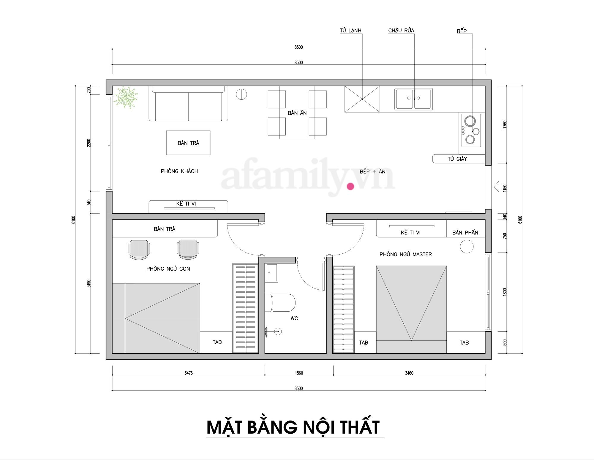 Kiến trúc sư tư vấn thiết kế căn hộ  50m² cho 3 người, chi phí tiết kiệm chỉ 114 triệu đồng - Ảnh 2.