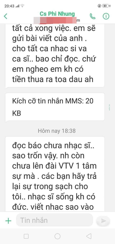 Phía Phi Nhung có câu trả lời về việc nhắn tin uy hiếp nhạc sĩ Hồng Xương Long - Ảnh 2.