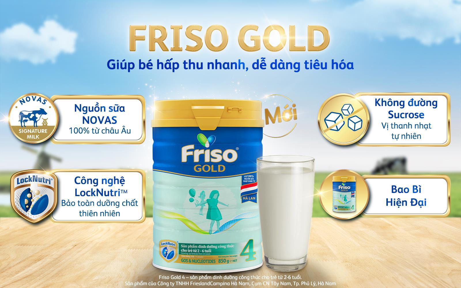 Friso Gold mới với nguồn sữa NOVAS 100% từ Châu Âu giúp bé dễ tiêu hóa - Ảnh 1.