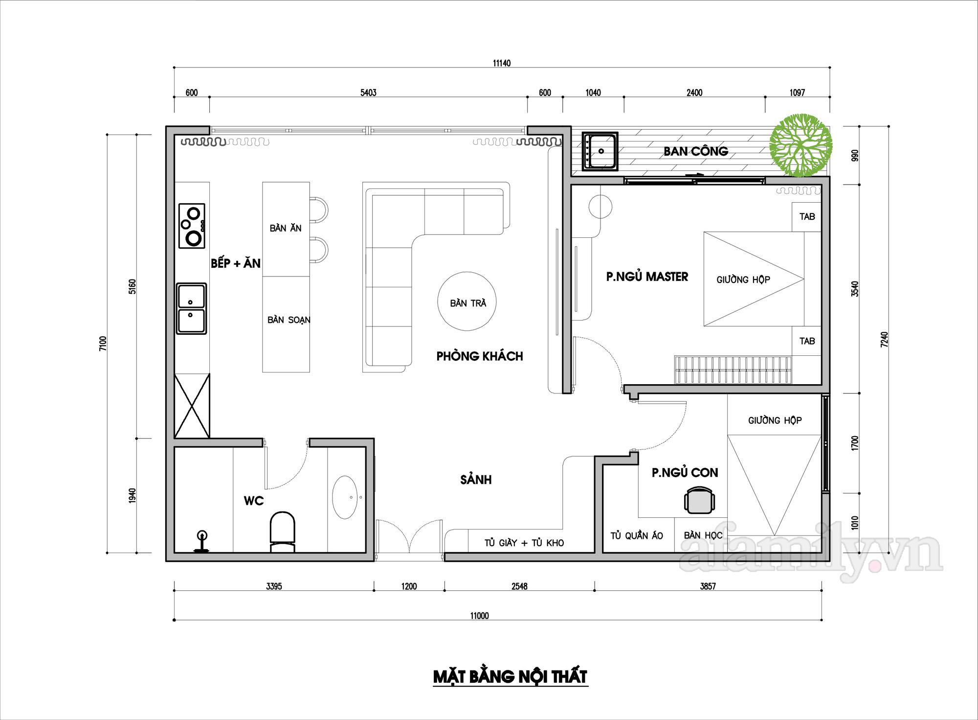 Kiến trúc sư tư vấn thiết kế căn hộ 76m² 2 phòng ngủ với chi phí tiết kiệm chỉ 189 triệu - Ảnh 2.