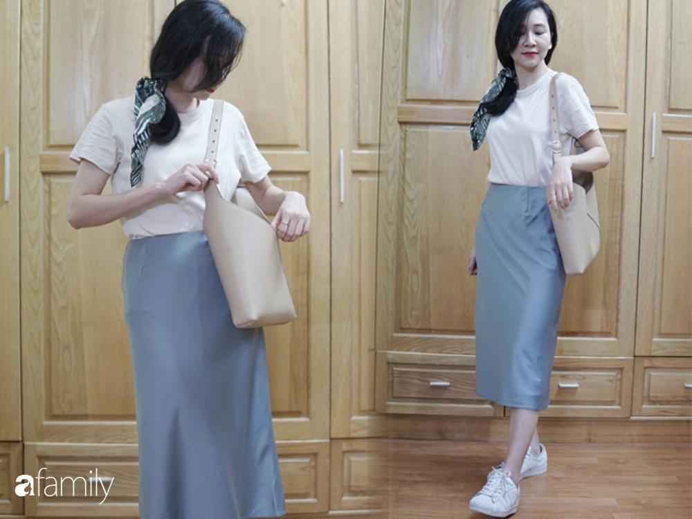 Sắm chân váy lụa Uniqlo 299k: Váy ôm nhưng không hề lộ bụng, mix kiểu nào cũng chuẩn style Pháp  - Ảnh 5.