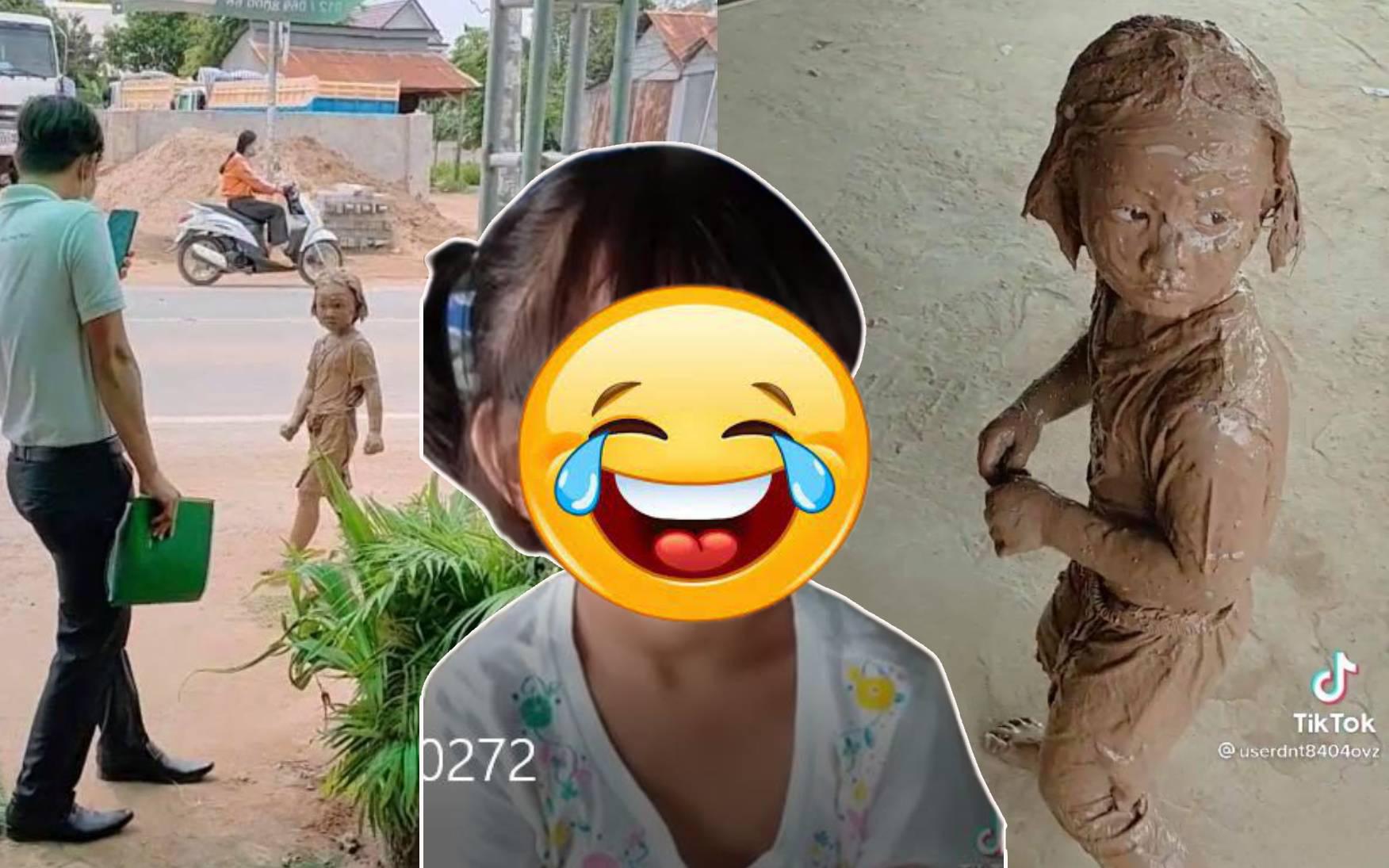 """Bé gái ngã xuống bùn nhưng thần thái như """"chị đại"""" dù bị mẹ vụt quắn mông: Khuôn mặt sau khi rửa sạch mới ngỡ ngàng"""