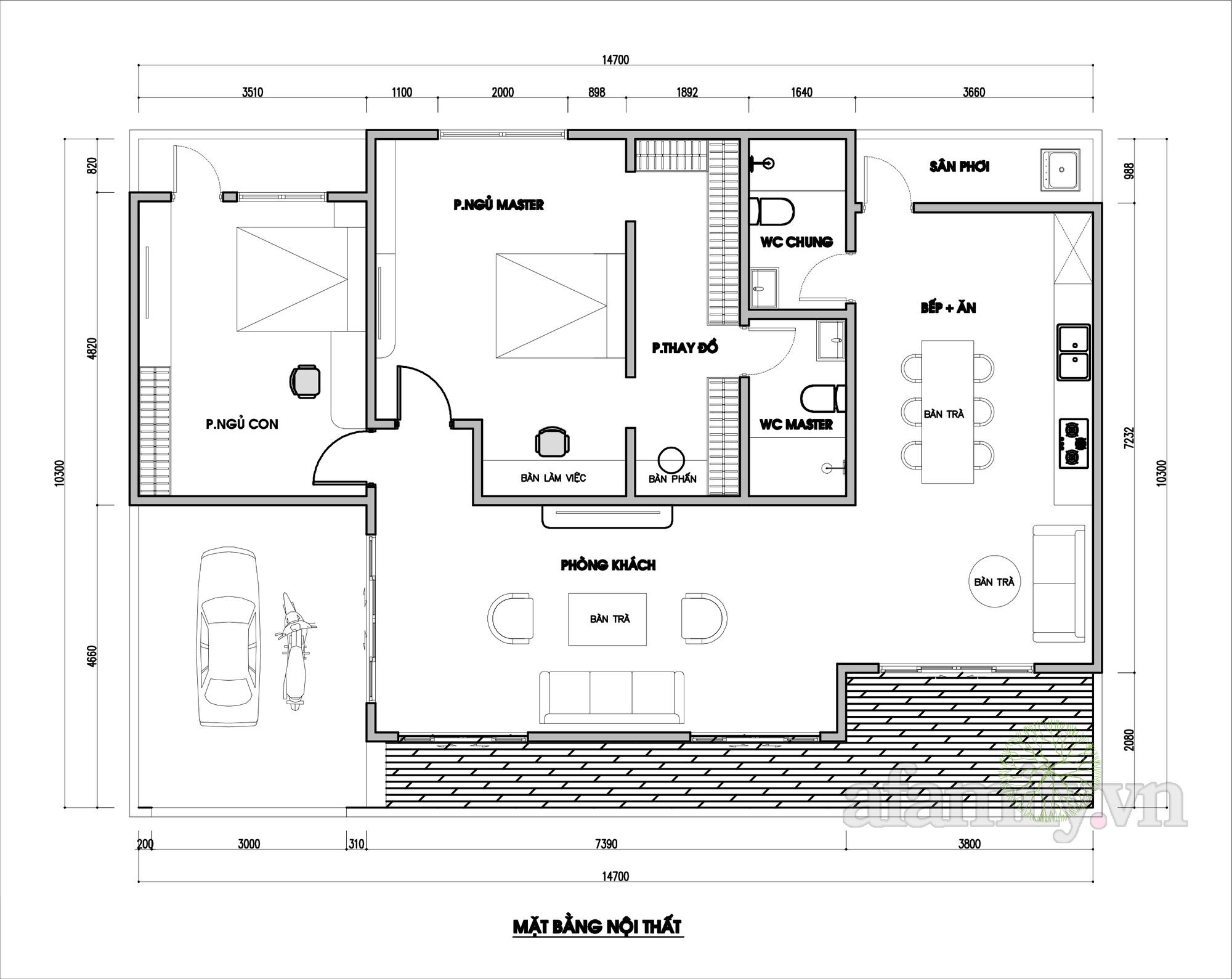 Tư vấn thiết kế nhà cấp 4 mái bằng 150m² chi phí 200 triệu - Ảnh 2.
