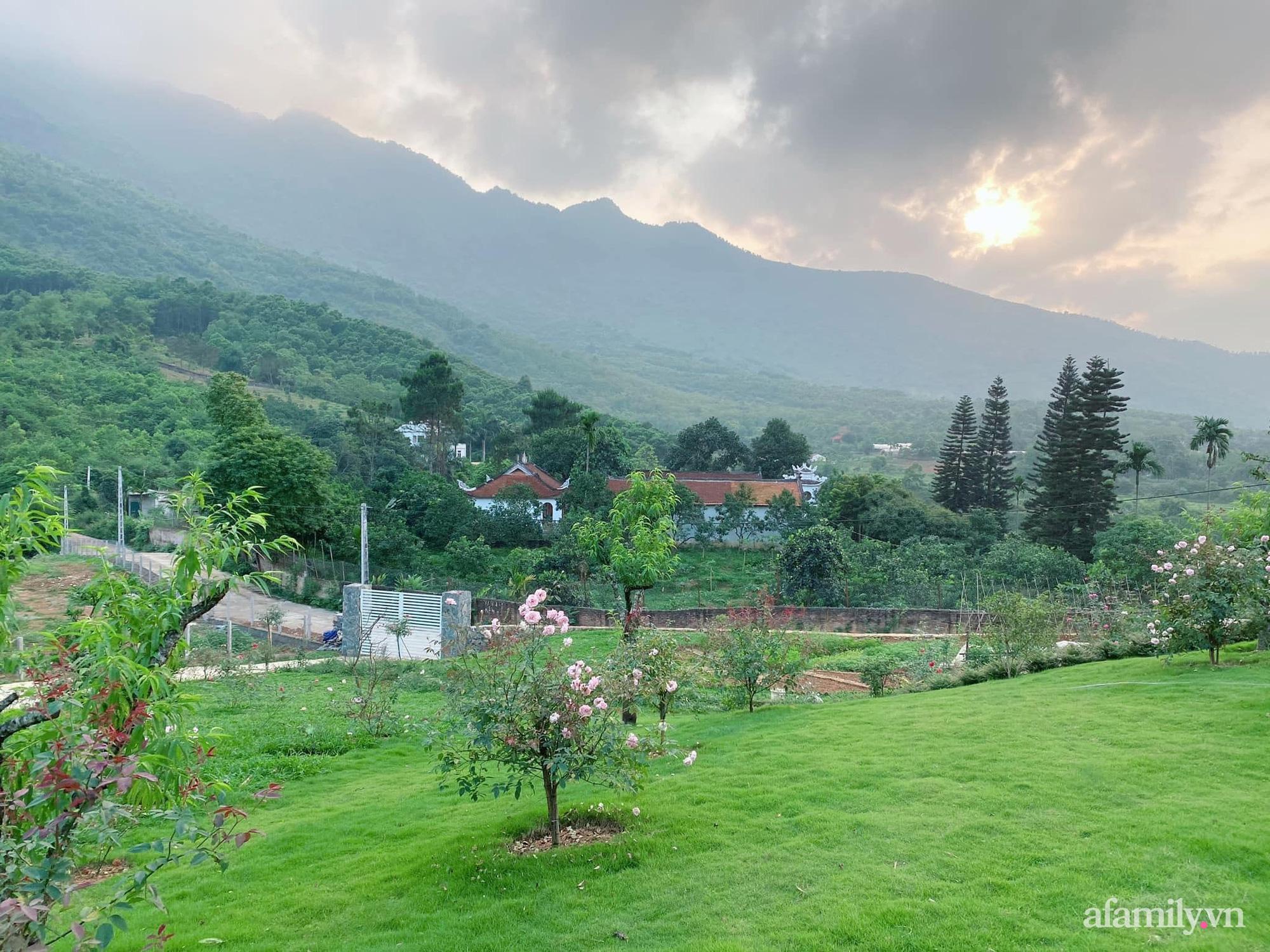 Căn nhà vườn trên núi đẹp an yên, tĩnh lặng với những xanh tươi đẹp đẽ ở ngoại thành Hà Nội - Ảnh 1.