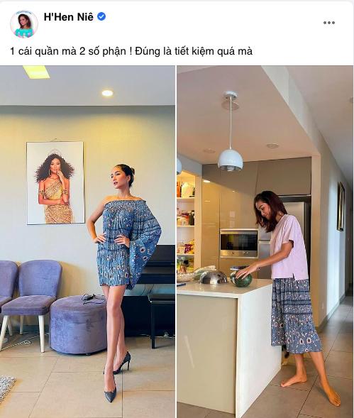 """Hoa hậu H'Hen Niê biến chiếc quần 80k của mẹ thành bộ đầm sexy siêu sang: Từ nay hãy gọi Top 5 Miss Universe là """"siêu sao tái chế"""" - Ảnh 1."""