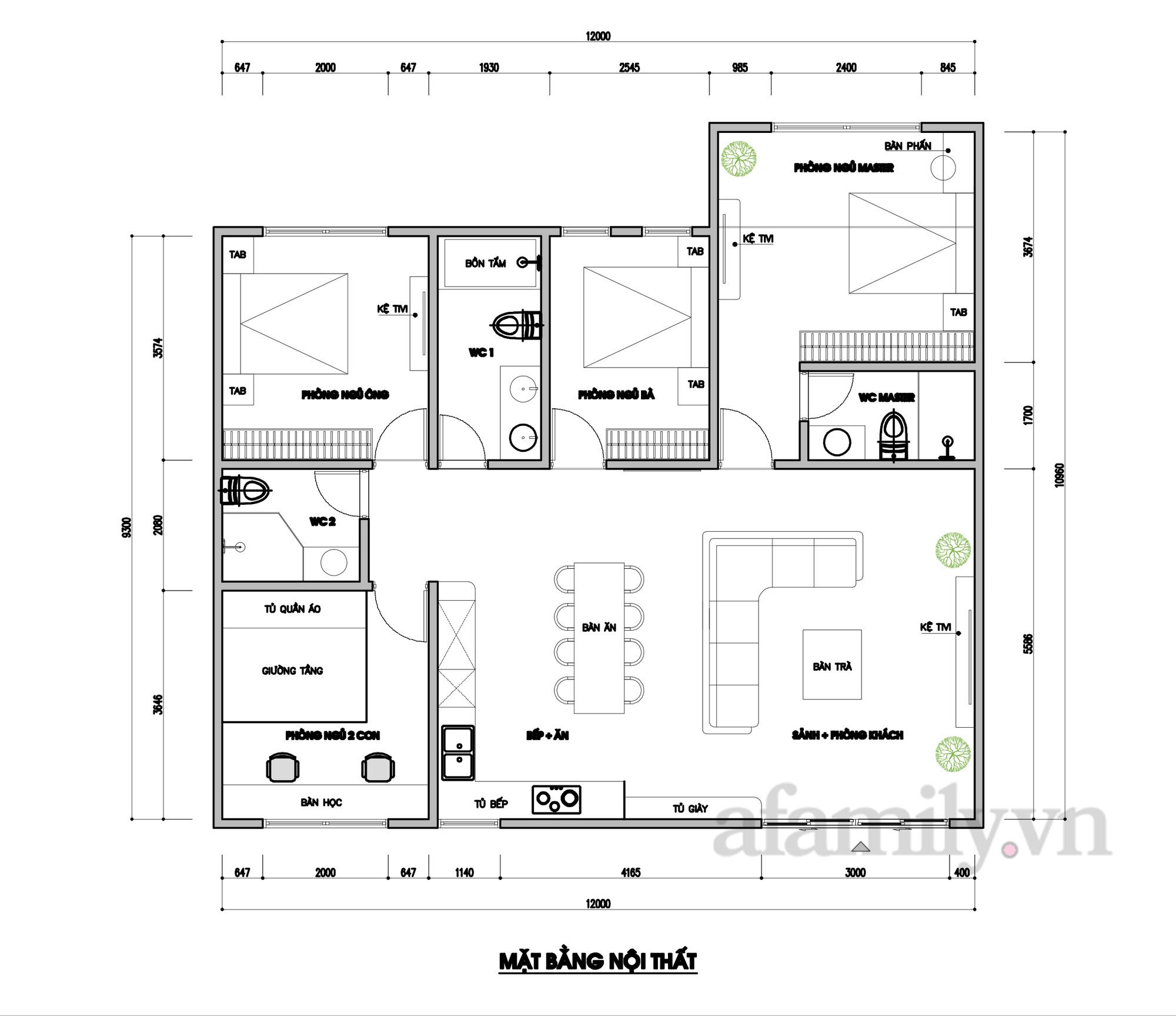 Tư vấn thiết kế nhà cấp 4 diện tích 120m² cho gia đình 6 thành viên chi phí 200 triệu - Ảnh 2.
