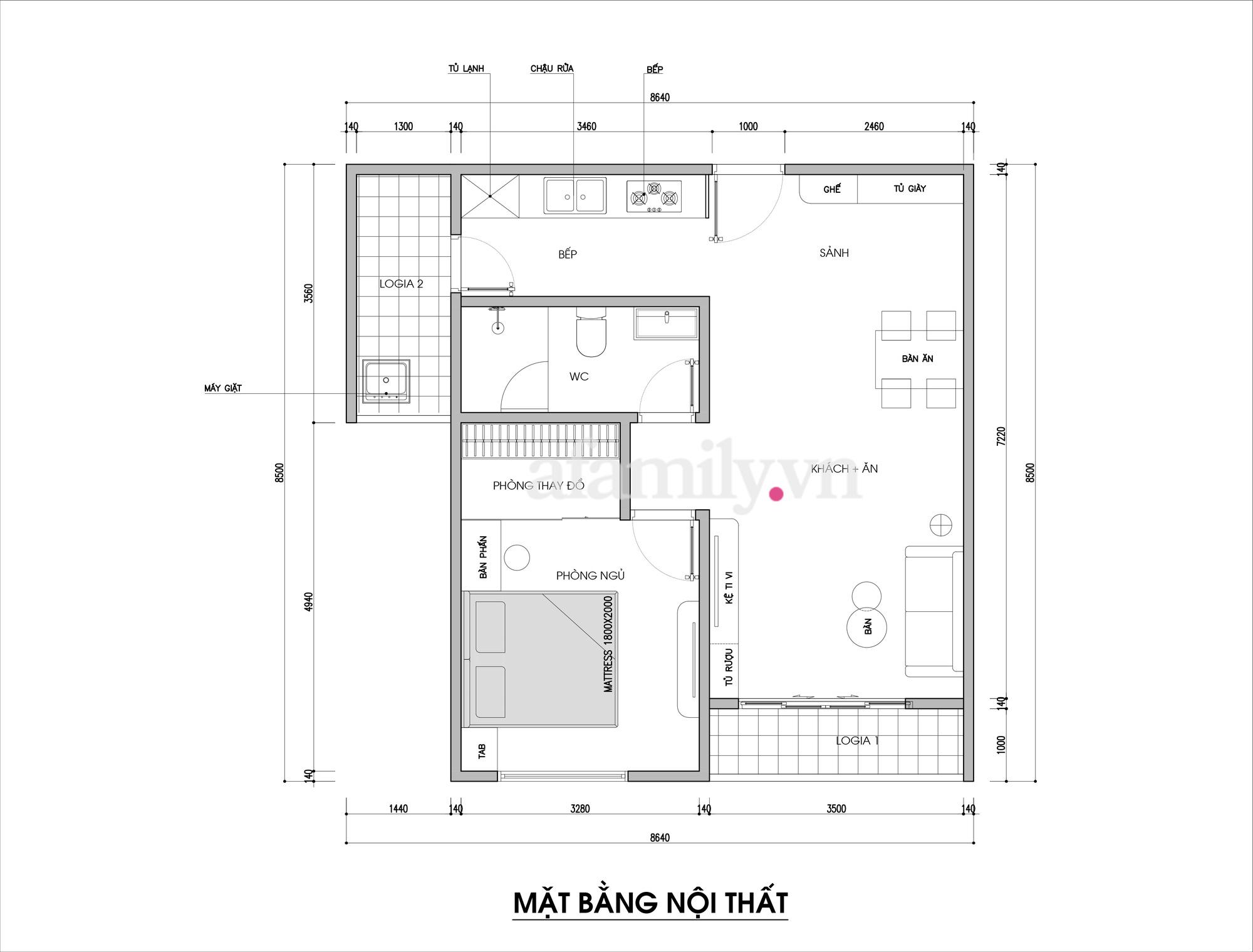 Kiến trúc sư tư vấn thiết kế căn hộ 67m² dành cho cô gái độc thân chi phí 98,3 triệu đồng  - Ảnh 2.