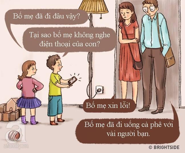 Tranh vui: Khi bố mẹ trở thành con, đi chơi về muộn, lười ăn, ngồi lì xem TV... - Ảnh 1.