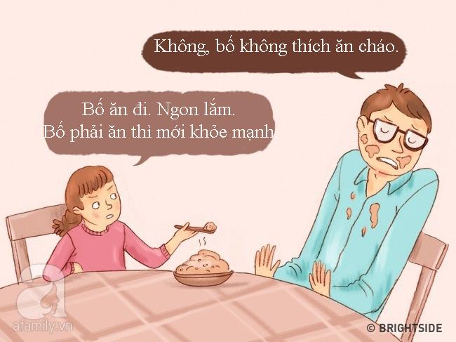 Tranh vui: Khi bố mẹ trở thành con, đi chơi về muộn, lười ăn, ngồi lì xem TV... - Ảnh 2.