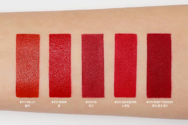 Xem tận mắt 5 sắc son đỏ trong BST Red Recip của 3CE lên màu ra sao - Ảnh 2.