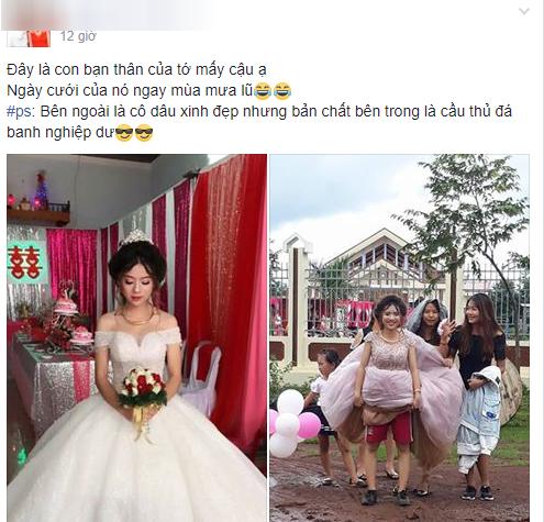Chết cười với đám cưới nhầm ngày mưa bão, cô dâu xinh đẹp túm váy để lộ cảnh mặc quần đùi, mang giày thể thao - Ảnh 1.