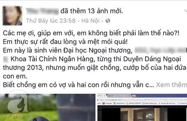 Bà mẹ 2 con xinh đẹp đau khổ lên Facebook tố bị nữ sinh trường ĐH nổi tiếng giật chồng - Ảnh 4.