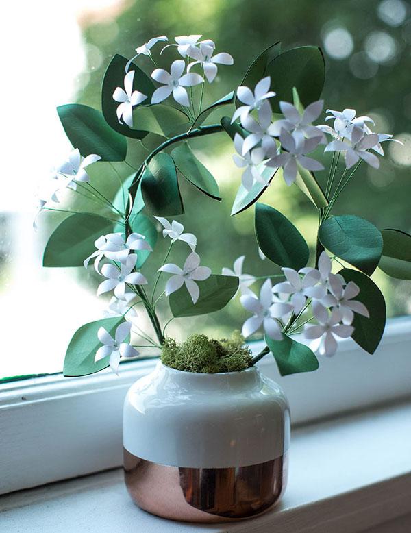 Làm hoa nhài bằng giấy trang trí góc nhà thêm tinh tế - Ảnh 5.