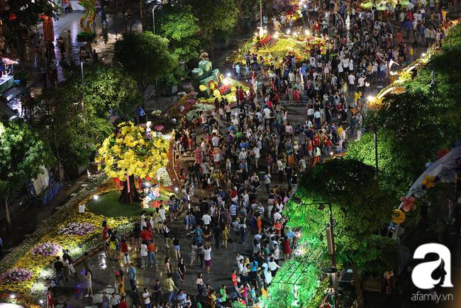 Hàng nghìn người tham quan đường hoa Nguyễn Huệ dù trời đổ mưa - Ảnh 2.