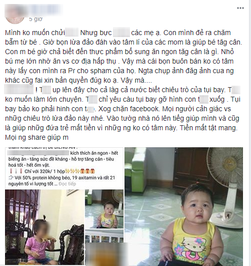 Giận dữ vì ảnh con gái bị mang ra quảng cáo sản phẩm thuốc tăng cân, mẹ bỉm đăng đàn cầu cứu 500 chị em - Ảnh 1.
