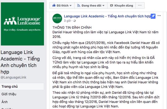 Language Link Việt Nam: Không còn liên quan tới Daniel Hauer - Ảnh 1.