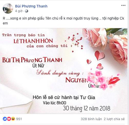Phương Thanh khiến fan hoang mang khi công bố đám cưới vào ngày 30/12, giấu kín danh tính chú rể - Ảnh 1.
